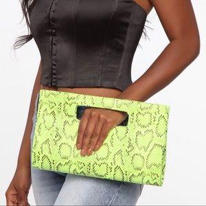 Fashion Nova Neon Green Animal Print Clutch